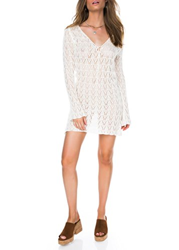 Women's Bathing Suits Cover Up For Swimwear Crochet Beach Dress (Off White, M) (Up Sleeve Cover Crochet Long)