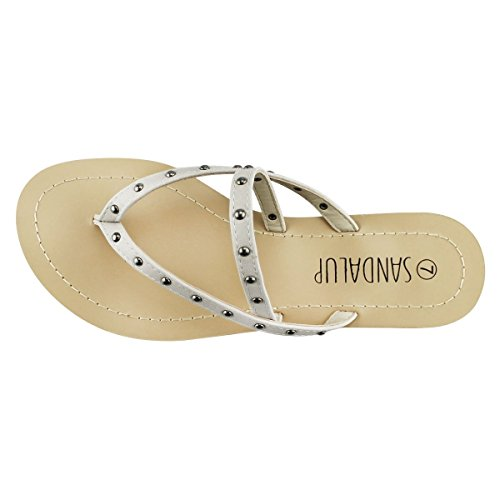 SANDALUP - Sandalia remache para mujer Gris
