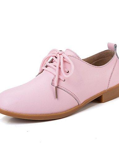 ZQ Zapatos de mujer-Tacón Plano-Comfort-Oxfords-Casual-Cuero-Azul / Marrón / Rosa / Blanco / Beige , brown-us8.5 / eu39 / uk6.5 / cn40 , brown-us8.5 / eu39 / uk6.5 / cn40 white-us6.5-7 / eu37 / uk4.5-5 / cn37