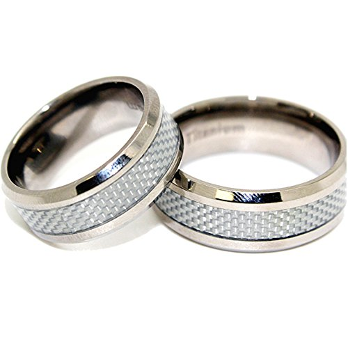Matching 8mm Titanium and White Carbon Fiber Inlay Wedding Bands (See listing for sizes)