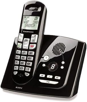 Sagemcom D35V - Teléfono fijo inalámbrico DECT/GAP con contestador, color negro: Amazon.es: Electrónica