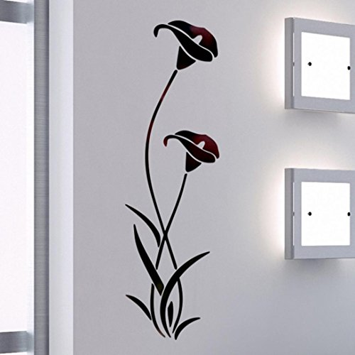 Jarsh Simple Wall Stickers Lotus Flower Vine, Butterfly Removable Decals Art for Living Room Bedroom Decors (Black)