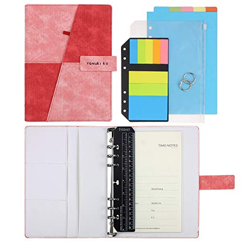 (SynLiZy A5 PU Leather Personal Organizer Undated Planner (A5 Red-Pink) 7.36