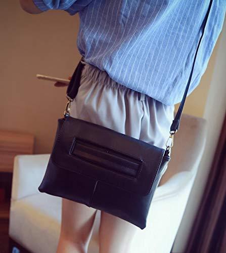 Dames noir Couleur D'enveloppe Mode Sac Solide De Embrayage Bandoulière Shanzwh À vqgw4xF48