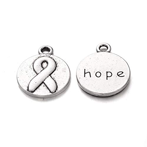 Fashewelry 20Pcs Antique Silver Flat Round Pendants with Word Hope 20x16mm Lead Free & Cadmium Free Tibetan Carved Awareness Ribbon Inspirational Message Hang Tag Charms for DIY Jewelry Craft Making