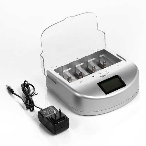 EBL® UT-2110D Universal LCD Rapid Smart Charger for AA, AAA, C Cell, D Cell, 9V Ni-MH / Ni-Cd Rechargeable Batteries, 18650, 26650, 22650, 18490, 18350, 17670, 17500, 17335, 16340, 14500, 10440 3.7V Cylindrical Li-ion Batteries And 3.2V LiFePO4 Rechargeable Batteries