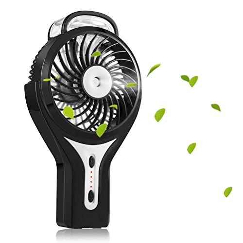 LEDMOMO Mini USB Fan Handheld Personal Fan Rechargeable Battery Powered Adjustable Water Misting Fan Portable Travel Cooler 2200mAh with 3 Speed and 2 Spray Modes (Black) by LEDMOMO