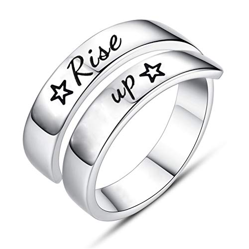 Jvvsci Rise up Spiral Wrap Twist Ring, Musical Inspired Star Gift, Inspiration Motivation Jewelry,Theater Gift