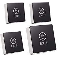 UHPPOTE Touch Pad NC/NO Door Exit Release Button Switch For Access Control With LED Rectangular Type Pack of 4