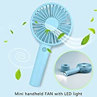 Mini Handheld Fan Portable USB Rechargeable Fan with Base, 3 Modes with flashlight and flashlight SOS function, available for your home, Office, Bedroom and Outdoor travel and camping (light blue)