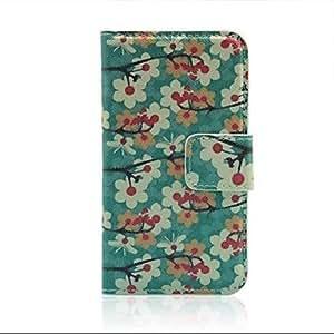 TY- flor del ciruelo caso del tirón del cuero artificial con estampados con ranuras para tarjetas y soporte para el iPhone 4 / 4s