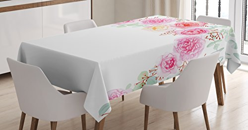 """Ambesonne Shabby Chic Decor Tablecloth, Floral Wreath in Half Blossoming Romantic Bridal Roses Peonies Feminine, Dining Room Kitchen Rectangular Table Cover, 52"""" X 70"""", Almond Pink"""
