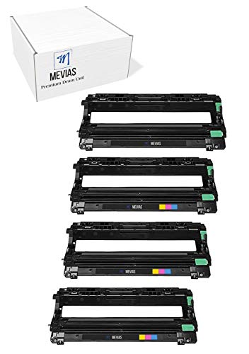 Mevias Re-manufactured Drum Unit Replacement for Brother DR221/DR-221/DR221cl/DR-221cl/TN221/TN225 HL-3140CW HL-3150CDN MFC-9130CW MFC-9330CDW MFC-9340CDW (1 Black 1 Cyan 1 Magenta 1 Yellow) 4-Pack