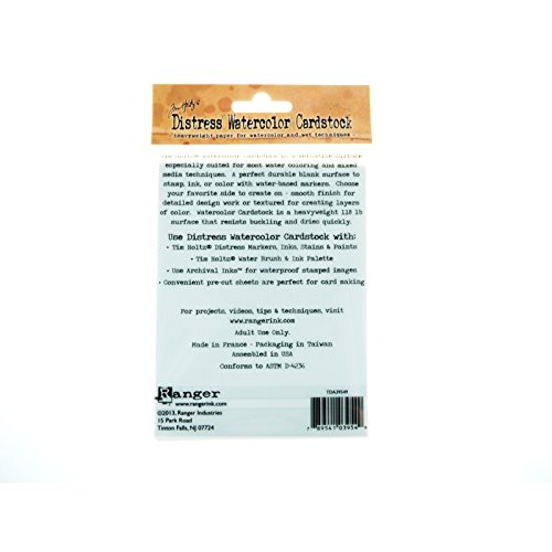 20-Pack Ranger Time Holtz Distress Watercolor Cardstock 4.25 by 5.5-Inch TDA39549