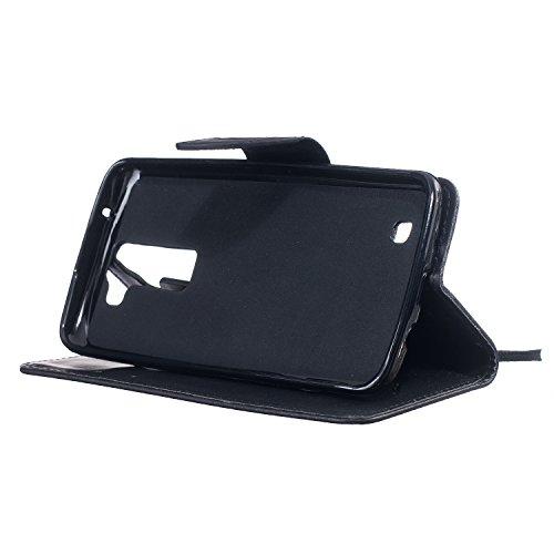 Ultra Slim Case para LG K7/LG M1/LG Tribute 5 Funda Libro Suave PU Leather Cuero- Sunroyal ® Bookstyle Cobertura Wallet Case Con Flip Cover Cierre Magnético,Función de Soporte Billetera con Tapa para  A-04
