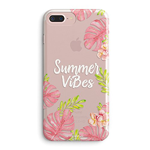 Aloha Flowers Tropical (iPhone 8 Plus Case,iPhone 7 Plus Case,Flowers Aloha Love Summer Vibes Pink Leaves Tropical Colorful Hawaii Good Vibes Only Palm Tree Beach Floral Rose Girls Clear Soft Case for iPhone 7 Plus(8 Plus))