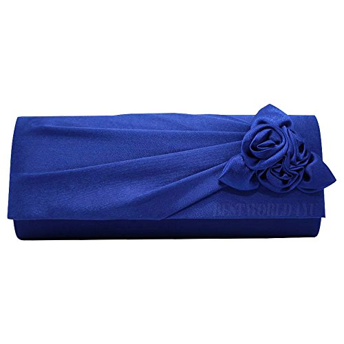 Evening Wocharm Shoulder Royal Handbag Prom Ladies Party Women's With Clutch Bag Satin Bridal Wedding Blue Rose Bag YYqrH