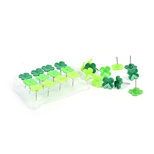 LONG7INES Set of 24 Pcs Four-leaf Clover Push Pins Thumb Tacks Drawing Pins for School, Home, Office Use, Green