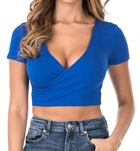 7026 Womens Deep V-Neck Short Sleeve Fitted Surplice Wrap Crop Top Royal Blue 2XL ()