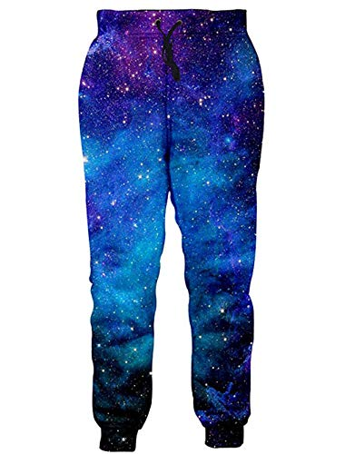 RAISEVERN Unisex Jogger Pants 3D Galaxy Sweatpants Sportswear Blue Starry Sky Gym Trousers with Pocket for Men -