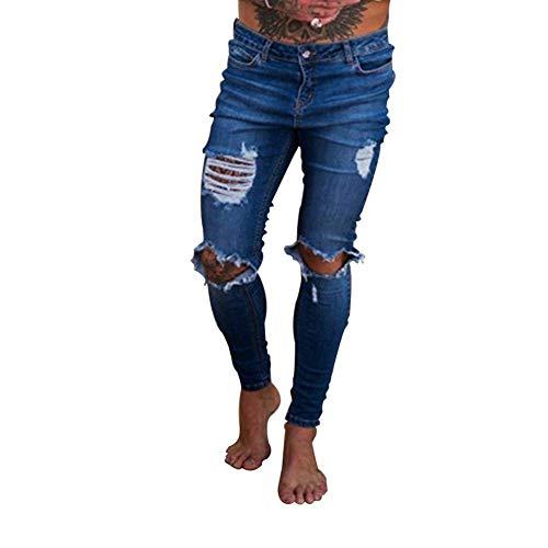 Con Uomo Nero Da Denim Vestibilità Stretch Destrutturati Giovane Strappati Fit Slim Pantaloni Casual Jeans 6g0wqT