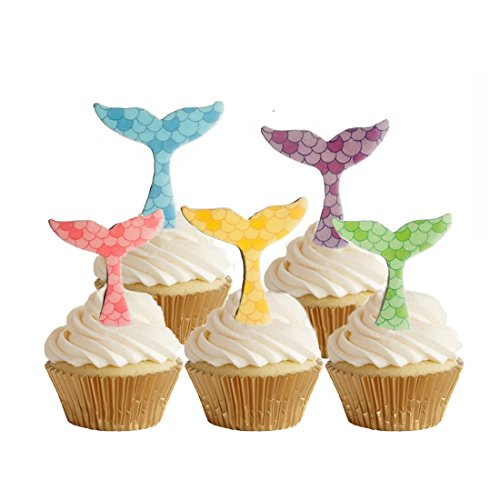 d Tail Cupcake Topper by Wafer Paper,Under the sea,30 Counts ()