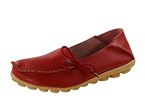 Century Star Women's Fashion Casual Leather Lace-Up Driving Moccasins Loafer Flats Slipper Boat Shoes Red 6.5 B(M) (Great Lengths Anti Tap)