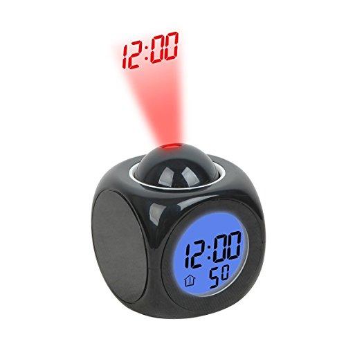 Rightwell Digital Projektionswecker Uhr Kinder Bettseite Projektionsuhr Sprechender Wecker mit Temperatur Anzeigen (Schwarz)
