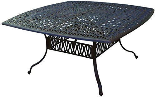 Darlee Elisabeth Cast Aluminum Square Dining Table, 64'', An