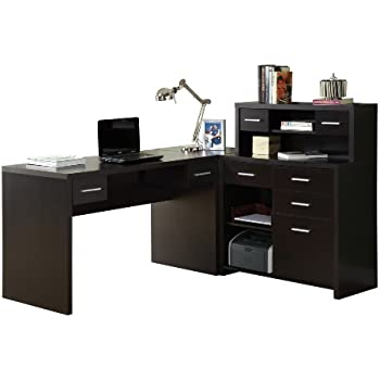 Wonderful Monarch Specialties Hollow Core L Shaped Home Office Desk, Cappuccino