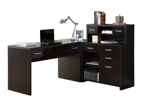 Monarch Specialties Hollow-Core L-Shaped Home Office Desk, Cappuccino