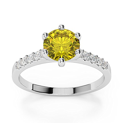 Or blanc 18 carats 1 CT G-H/VS sertie de diamants ronds Cut Saphir Jaune et bague de fiançailles Agdr-1208