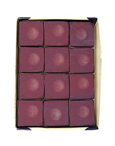(Sterling Gaming Silver Cup Pool Cue Chalk Cubes in Plum - 12 Pc Set)