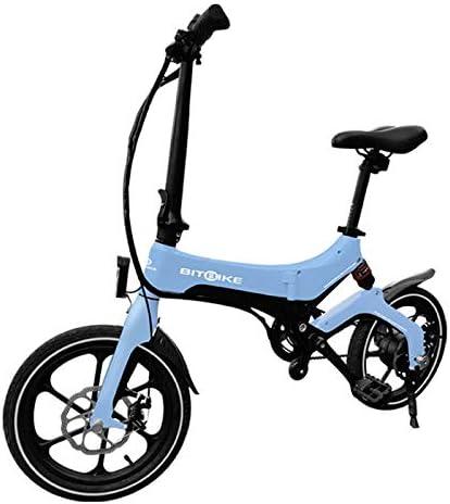 BITBIKE Bicicleta eléctrica Plegable, Marco de magnesio, Peso 17 kg, Color Blanco Perla, 250 W, 36 V, 25 km/h, 60 km de autonomía: Amazon.es: Deportes y aire libre