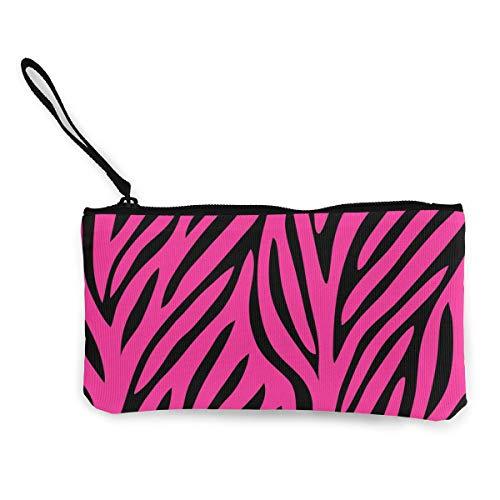 - Pink Black Zebra Design Print Coin Purse Makeup Bag Zip Canvas Purse Wallet - Pocket Handbag