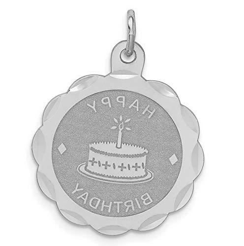 Disc Birthday Happy Pendant - Sterling Silver Happy Birthday Disc Charm (1.0in x 0.8in) Vintage Crafting Pendant Jewelry Making Supplies - DIY for Necklace Bracelet Accessories by CharmingSS