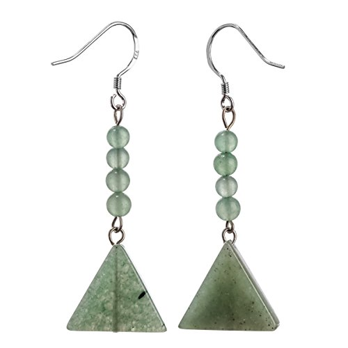 YACQ Sterling Silver Green Aventurine Natural Gemstone Dangle Earrings Handcrafted Jewelry for Women (aventurine)
