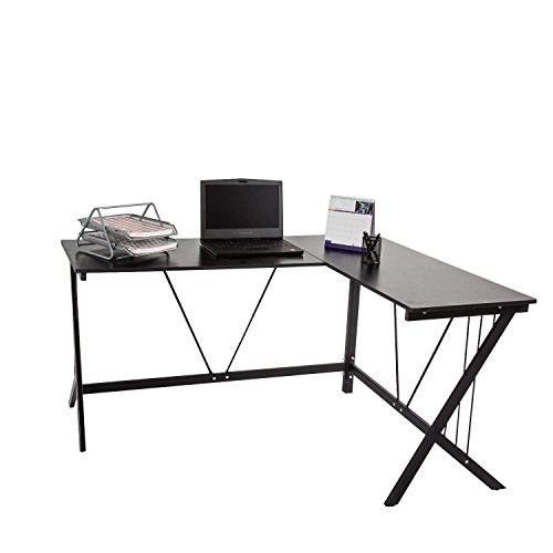 Kinbor L-Shape Computer Table Home Office Corner PC Laptop Desk Workstation,Black by Kinbor