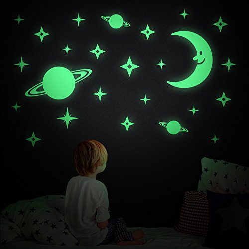 Glow In The Dark Planet & Stars Wall Stickers, 188 Pieces for Wall Decor, Perfect for Children Kid and Play Rooms (Planets & Stars)