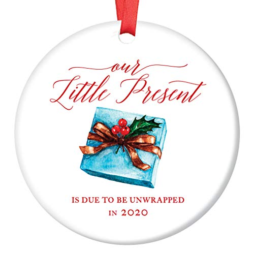 (Baby Due 2020 Christmas Ornament Surprise Pregnancy Announcement We're Expecting Little Present! Soon Parents Grandparents Ceramic Keepsake 3