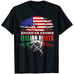 Mens American Grown With Italian Roots T-Shirt Large Black