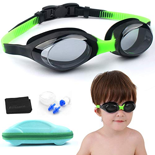 (Kids Swim Goggles, Firesara No Leaking Swimming Goggles for Kids Junior Boys Girls Anti Fog UV Protection Crystal Clear Vision Soft Silicone Frame and Strap with Cute Case Ear Plug Nose Clip(Age 4-12))