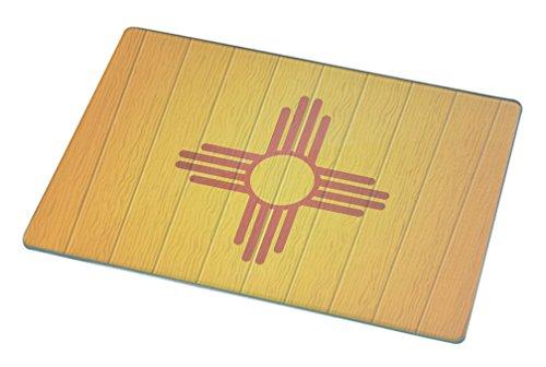 Rikki KnightTM New Mexico Flag on Distressed Wood Small glass Cutting board