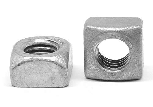 "7/16""-14 Coarse Thread Grade 2 Regular Square Nut Low Carbon Steel Hot Dip Galvanized Pk 50"