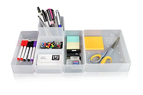 O-Life Smart Blocks, Set of 6 Stackable Storage Organizer - Multi-Purpose 4 Sizes Personal Organizer for Office Desk, Bathroom, Kitchen, Craft, Vanity Table and Drawer