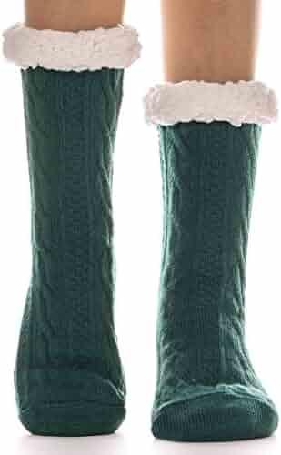a478d9559 Womens Fuzzy Slipper Socks Warm Knit Heavy Thick Fleece lined Fluffy Christmas  Stockings Winter Socks