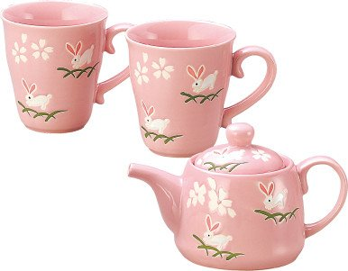 Yamakiikai Rabbits & Cherry Blossoms Japanese Style Teapot and Mug Cup Set Pink (Blossom Pink Cup)