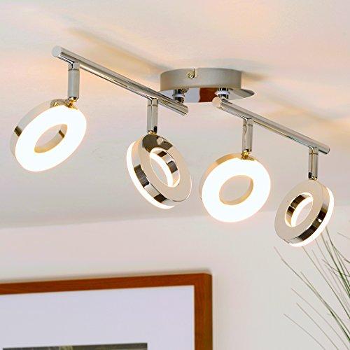 LED-Deckenleuchte / Deckenstrahler / Deckenlampe / Spotleuchte / LED 4x4 Watt / 4x330 Lumen / chrom
