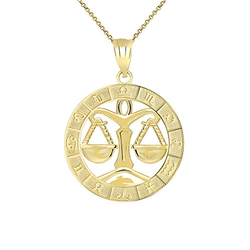 CaliRoseJewelry 14k Yellow Gold Libra Zodiac Pendant Necklace, 22