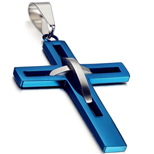 flongo-mens-vintage-stainless-steel-2-tone-hollowed-dual-cross-pendant-necklace-blue-silver-22-inch-